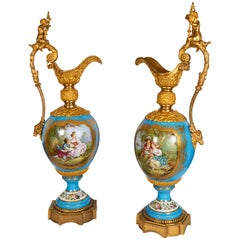Monumental Palace Size Pair of French Sèvres Porcelain and Ormolu-Mounted Ewers