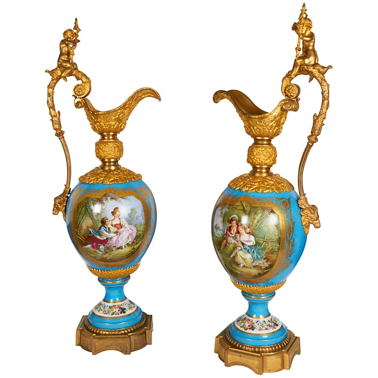 Monumental Palace Size Pair of French Sèvres Porcelain and Ormolu-Mounted Ewers For Sale