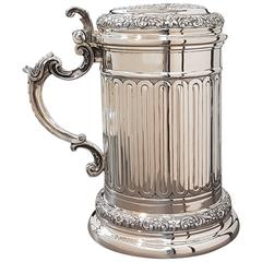 20th Century Italian Big Solid Silver Tankard. Handicraft made in Italy