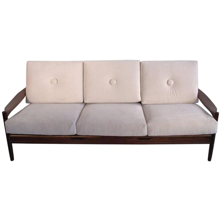 scandinavian modern style three seat white sofa with wooden frame for sale at 1stdibs. Black Bedroom Furniture Sets. Home Design Ideas