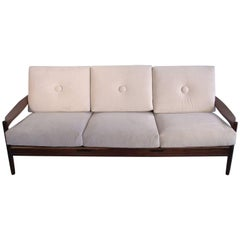Scandinavian Modern Style Three-Seat White Sofa with Wooden Frame