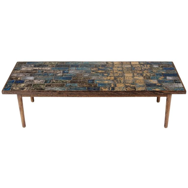 Wenge and stoneware coffee table by bj rn wiinblad for sale at 1stdibs Wenge coffee tables