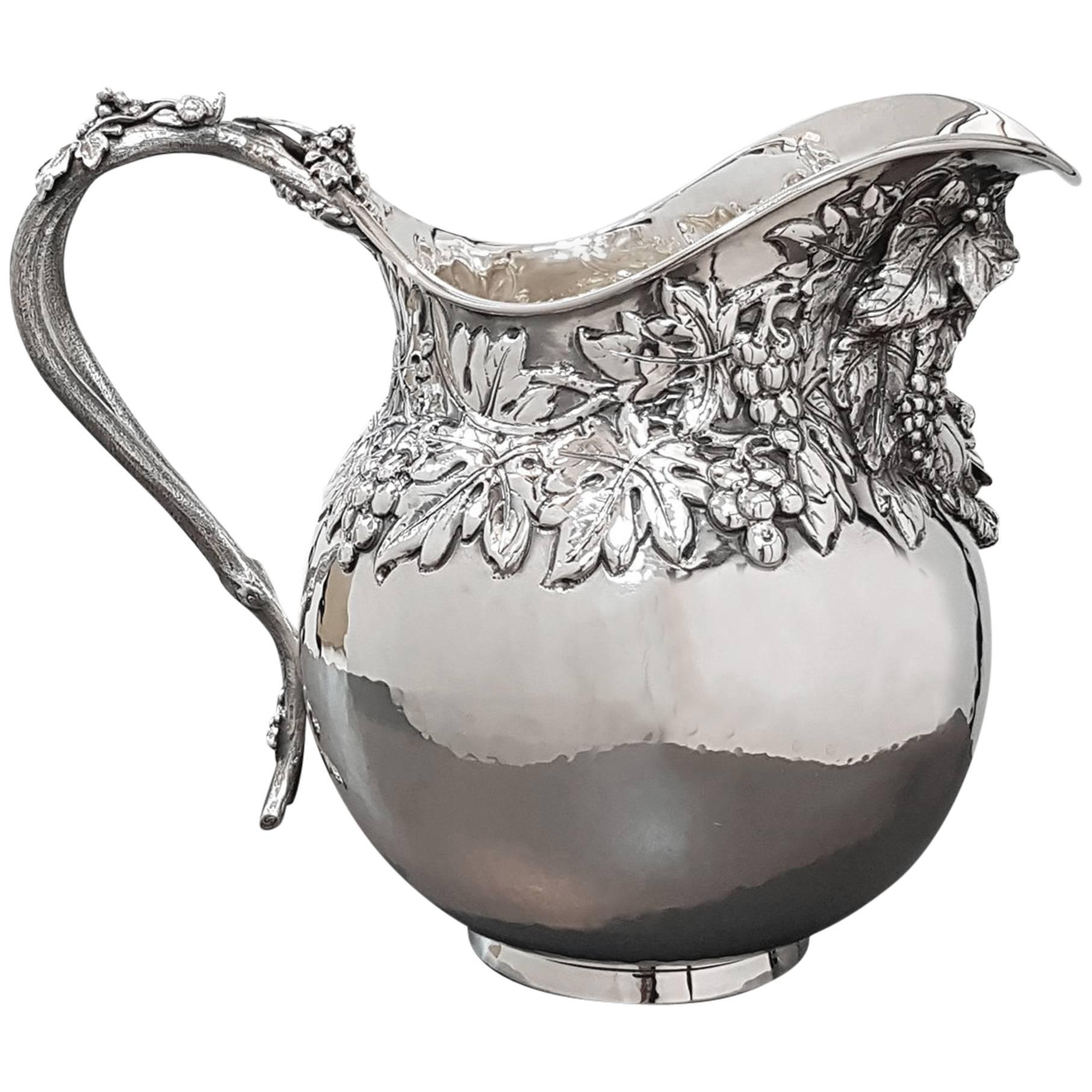 20th Century Italian Bacco's Silver Jug. Handicraft made in Italy