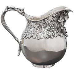 20th Century Italian Bacco's Silver Jug. Handicraft made in Italy
