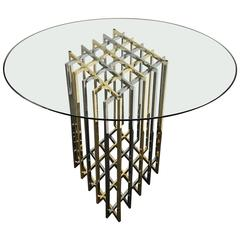 Pierre Cardin Chrome and Brass Grid Dining Table