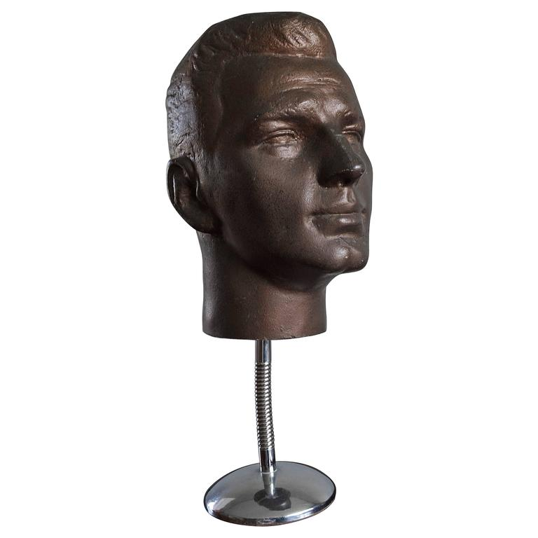Male Mannequin Head Wood & Early Plastic Ideal Display for Sunglasses American ?