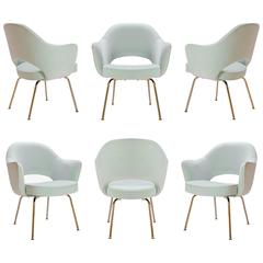 Saarinen Executive Arm Chairs in Mint Velvet, 24k Gold Edition, Set of Six