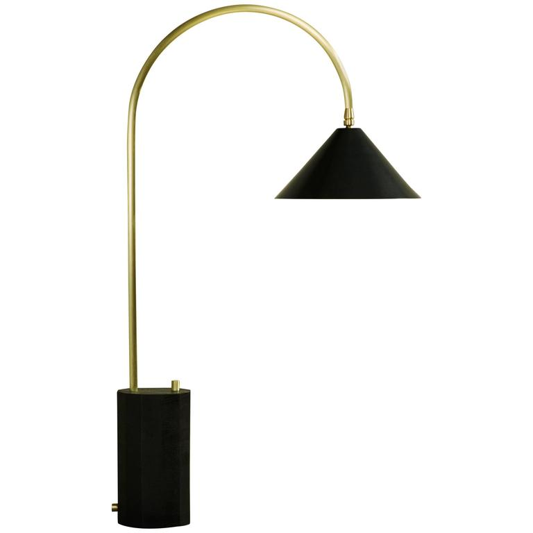 Bishop Table Lamp in Brushed Brass, Blackened-Steel Shade and Ebony-Stained Oak