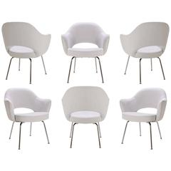 Saarinen Executive Arm Chairs in Dove Luxe Suede, Set of Six
