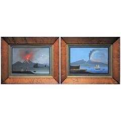 19th Century, Pair of Gouache Paintings of Vesuvius, 1848
