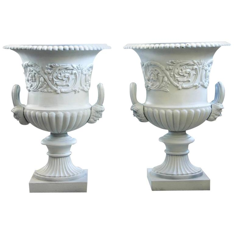 Antique Pair of Large Victorian Cast Iron Garden Urns