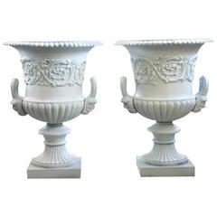 Antique Pair of Large Victorian Cast Iron Garden Urns