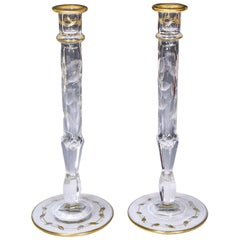 Pair of Moser Handblown Crystal Candlesticks with Intaglio Poppy Pattern & Gold