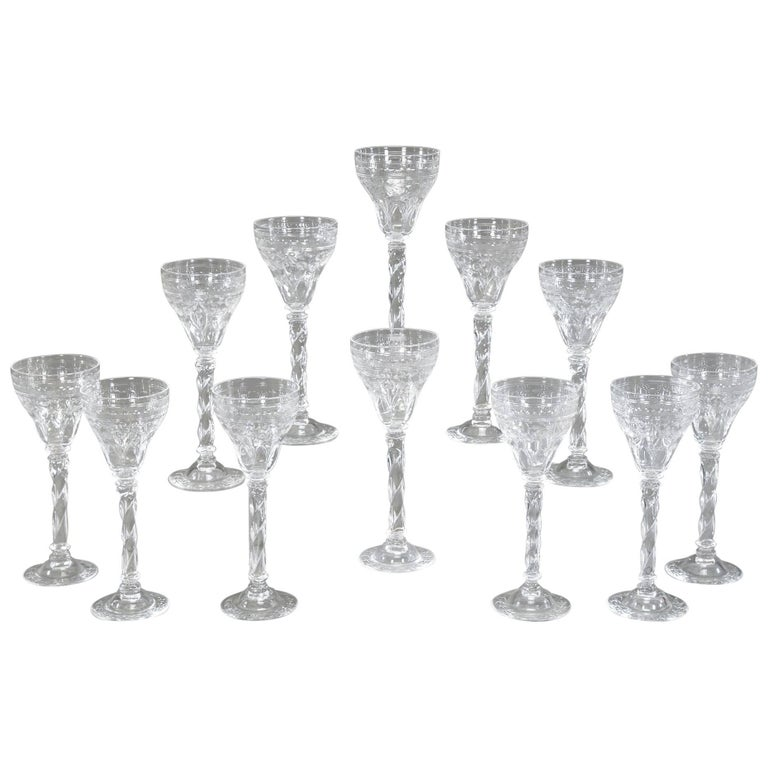 Set of 12 Webb Tall Handblown Crystal Goblets with Wheel Cutting and Spiral Stem