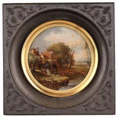 Early 19th Century Reverse Glass Painting with Countryside Scene