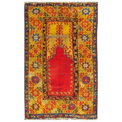Antique Turkish Konya Rug with Bright and Colorful Design