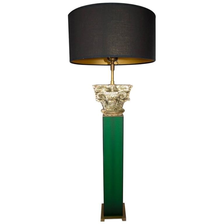 Carved Wood Capital Table Lamp