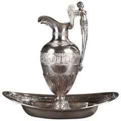 19th Century Empire Silver Ewer with its Bowl by Edme Gelez