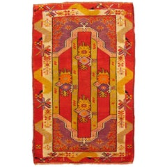 Antique Turkish Oushak Rug with Red, Yellow-Green and Purple Scattered Shapes