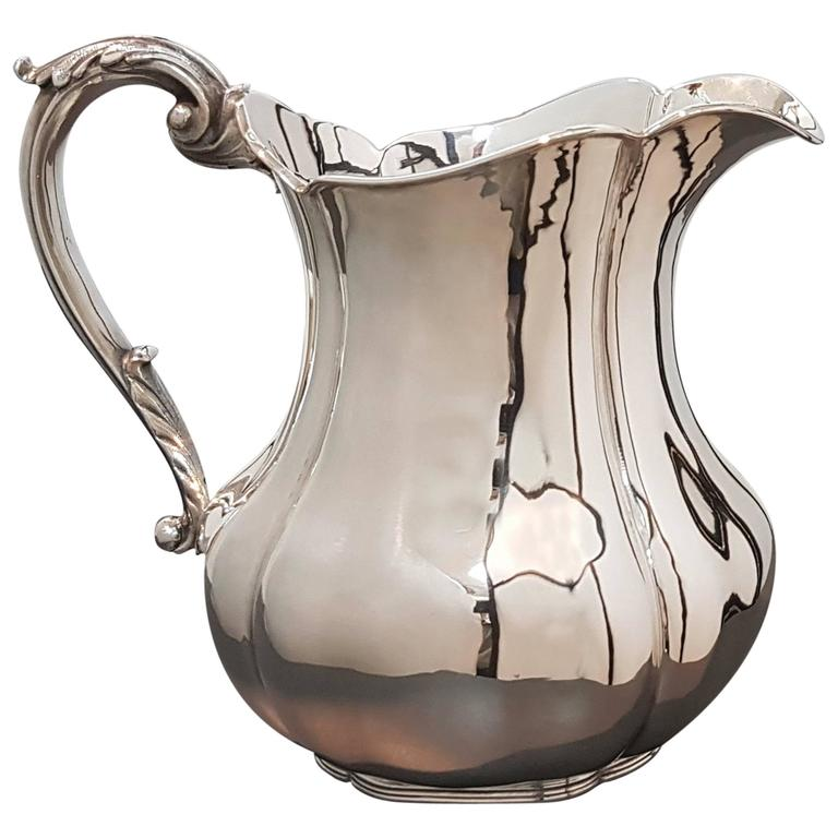 20th Century Sterling Silver Jug Italian Baroque revival, made in Italy