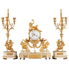 Louis XVI Set, Clock and Pair of Candelabras in Ormolu and Marble