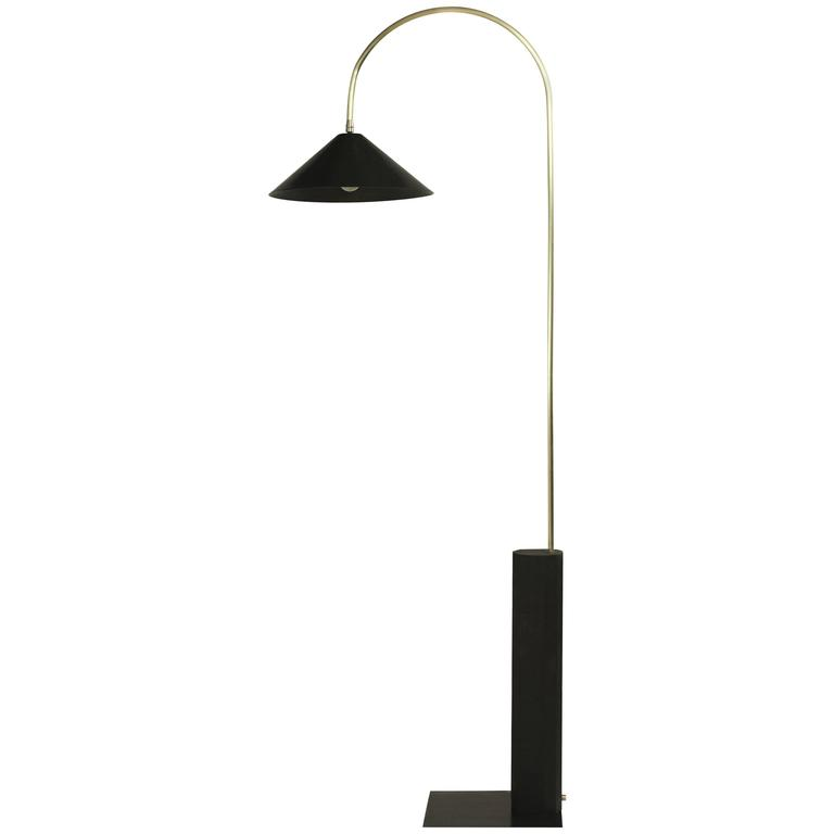 Bishop Tall Floor Lamp with Brushed Brass, Blackened-Steel Shade and Black Oak For Sale