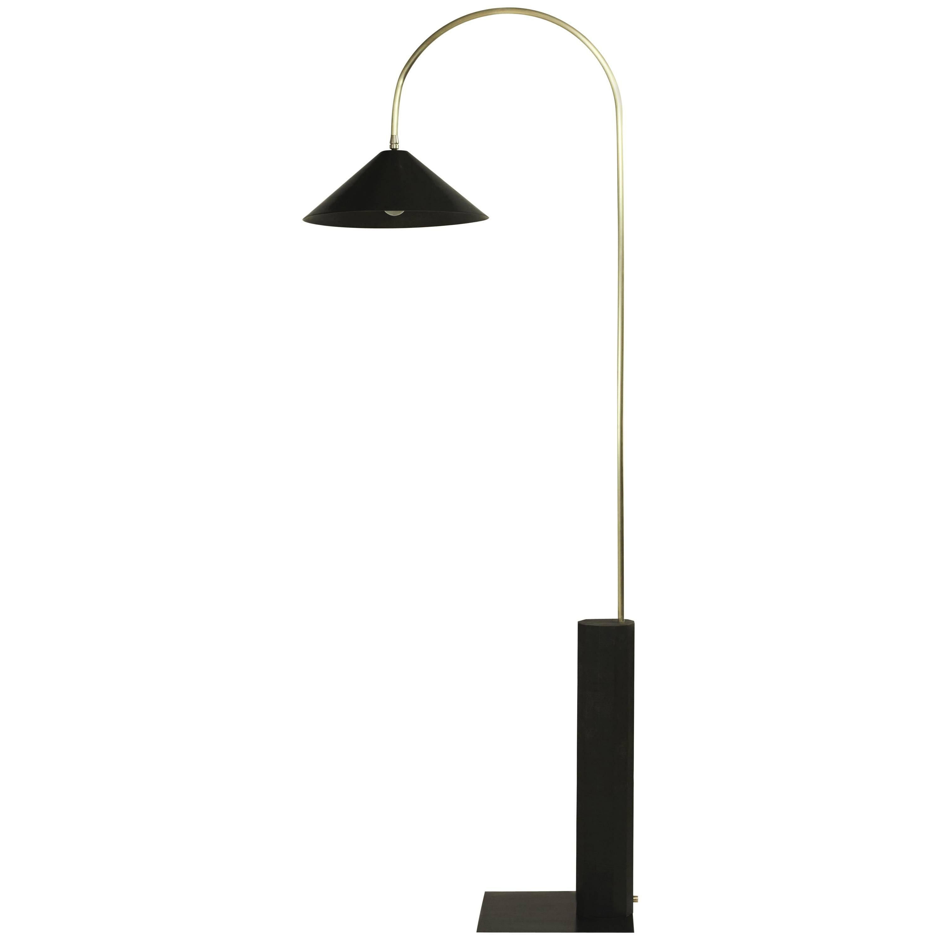 Bishop Tall Floor Lamp with Brushed Brass, Blackened-Steel Shade and Black Oak
