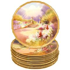 Set of 12 Royal Doulton Scenic Hand-Painted Artist Signed Garden Plates W/ Gold