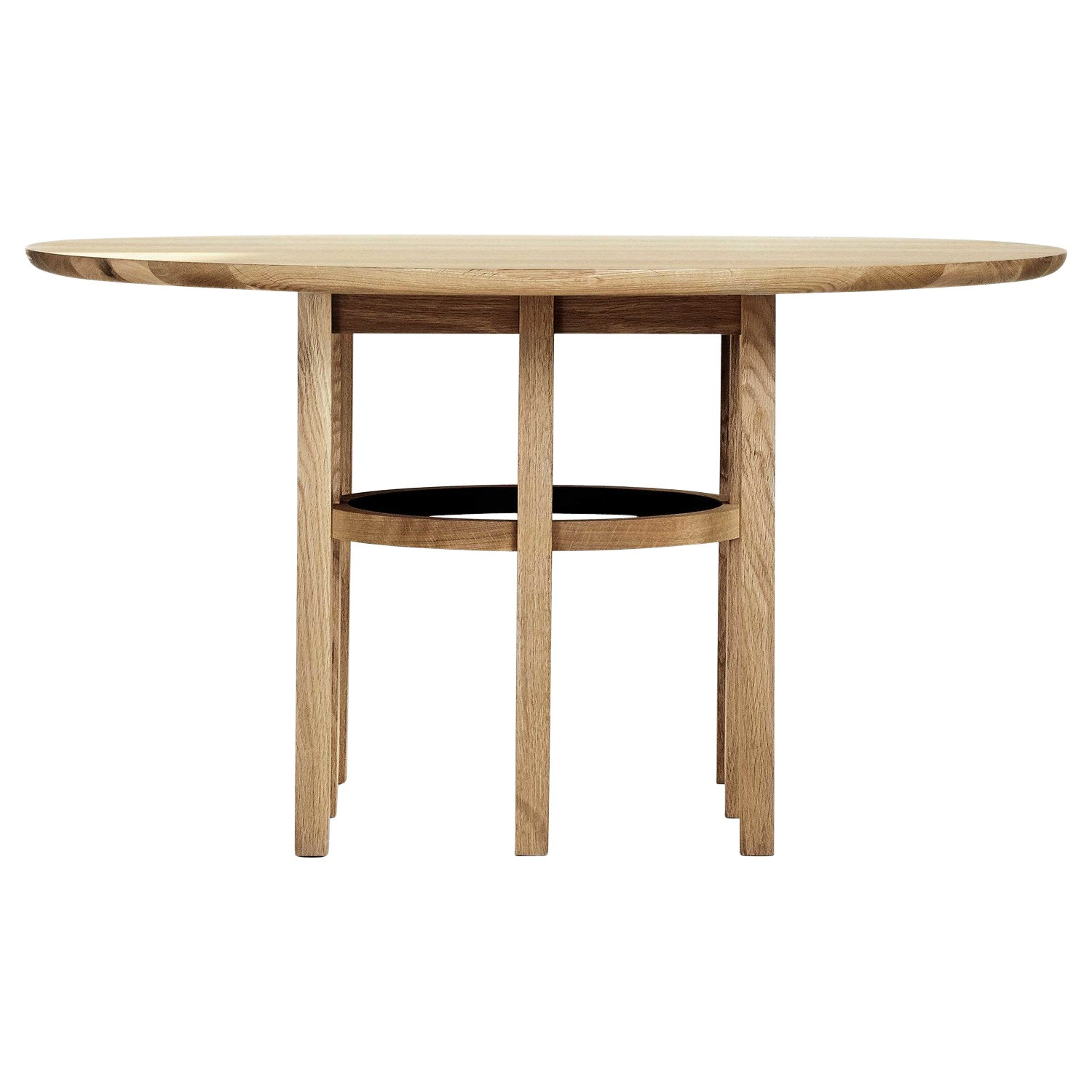 Soren Dining Table in Matte White Oak and Black Leather