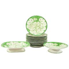 Pearlware Dessert Service with Molded Grape Leaves in Relief 12 Plates/2 Tazzas