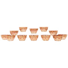 12 Baccarat Octagonal Crystal Bowls with Hand-Painted and Gilt Decoration