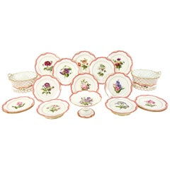 19th C Handpainted Botanical Rihouet Paris Porcelain Pink Dessert Service 17 Pcs