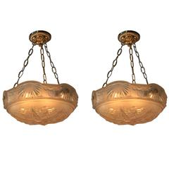 Pair of Art Deco Chandeliers by Muller Frères