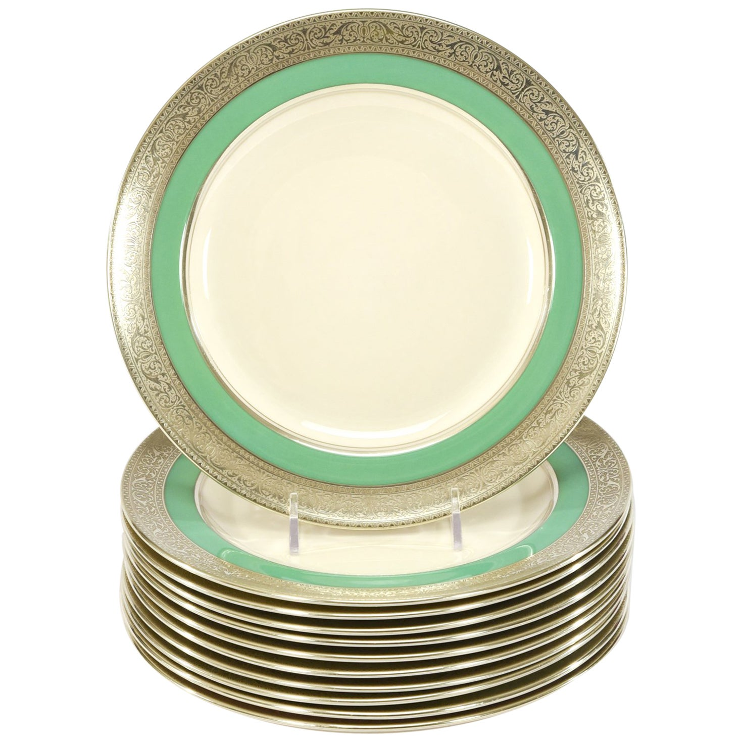 Set of 12 Lenox Green & Ivory Dessert Plates with Silver Overlay Borders, 1920s