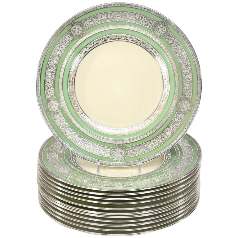 Set of 12 Sterling Welch & Co Green Cream Dinner Plates with AC Silver Overlay