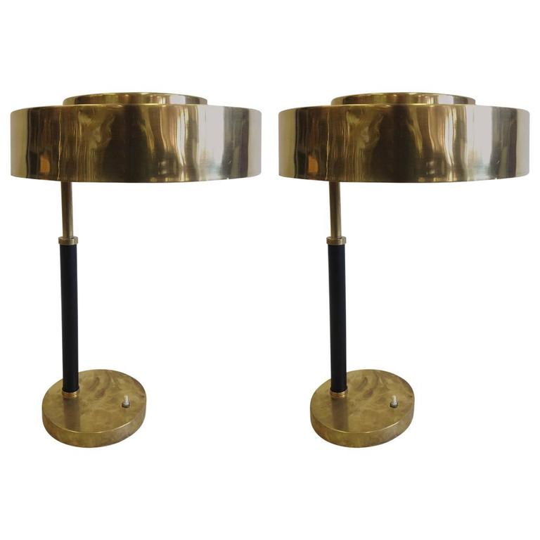2 Mid-Century Modern Brass & Leather Marine Desk / Table Lamps, England, 1930 For Sale