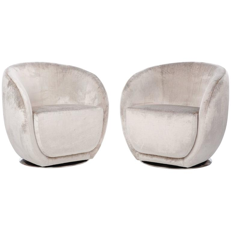 Pair of Mid-Century Style Silver Swivel Chairs