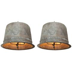 Near Pair of Monumental Antique French Hand-Riveted Copper Pendants, circa 1890