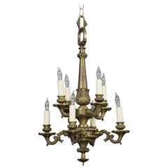 Small French 1940s Bronze Chandelier with Eight Lights