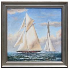 Oil on Canvas of a Yacht Race