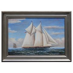 Oil on Canvas Two-Masted Schooner