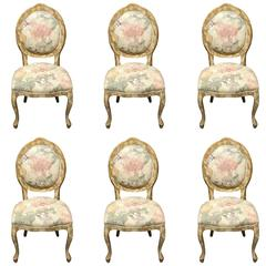 Six Floral Upholstered Dining Chairs