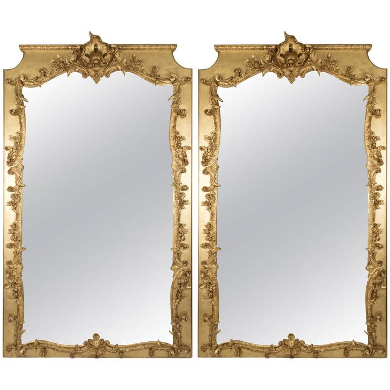 Pair of Louis XIV-Style Carved and Gilt Wall Mirrors