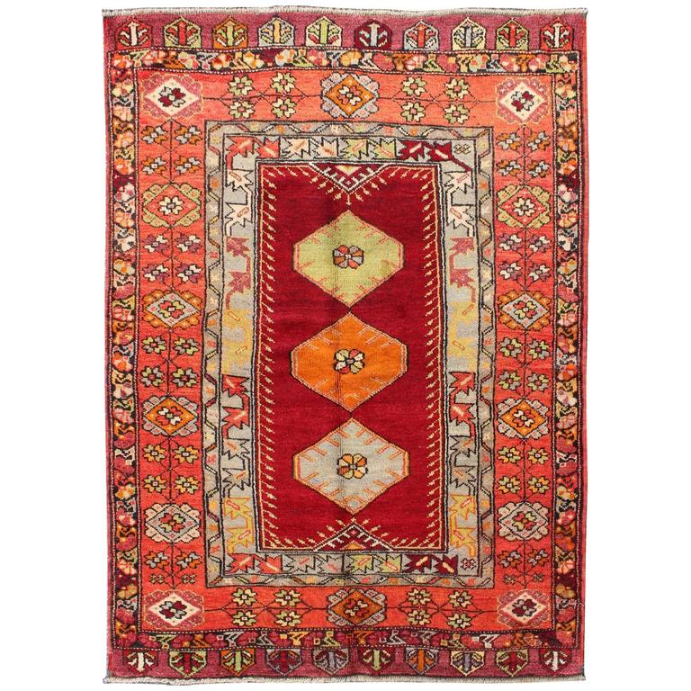 Colorful Rug Designs: Vintage Turkish Oushak Rug With Colorful Three-Medallion