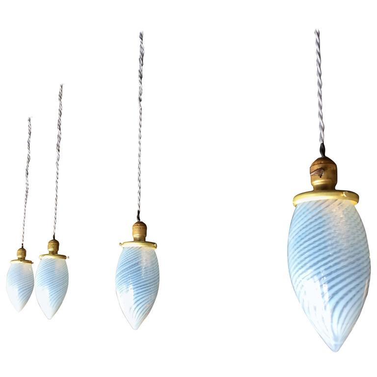 Set of Four Blue Swirl Teardrop Blown Glass Pendant Lights