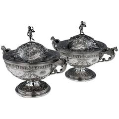 Antique Georgian Solid Silver Exceptional Pair of Tureens, circa 1789