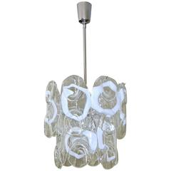 Murano Textured White Clear Glass Panel Chandelier by Mazzega