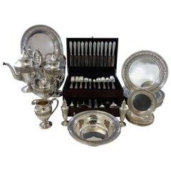 Wedgwood by International Sterling Silver Flatware Dinner Set Hollowware Tea Set