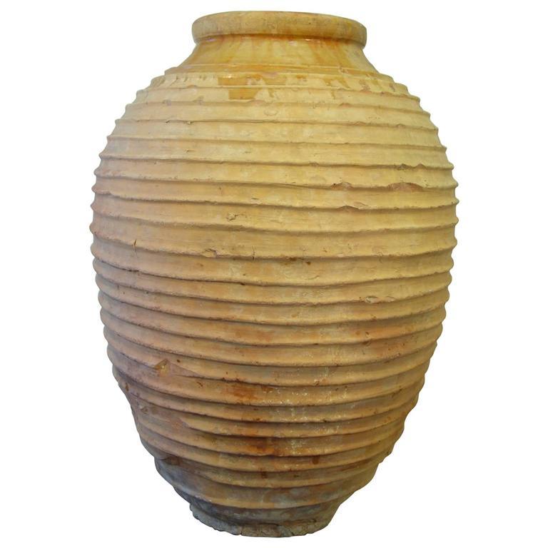 19th Century Mediterranean Terracotta Large Koroni Orcio Glazed Terracotta Jar