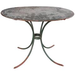 Oval Table with Zinc Top and Iron Base from France, circa 1940s